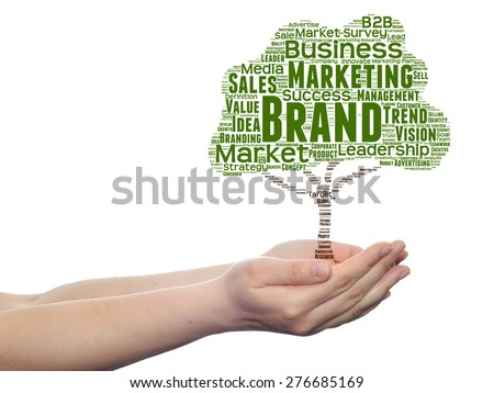 Concept or conceptual green tree media word cloud tagcloud in man or woman hand isolated on white background metaphor to business, trend, media, focus, market, value, product, advertising, leadership - stock photo