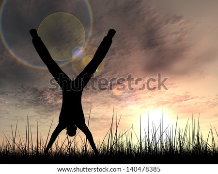Concept or conceptual human male or young man black silhouette playing happy in summer grass over sky at sunset or sunrise background,metaphor to happiness,nature,freedom,joy,jump,fun,success or free - stock photo