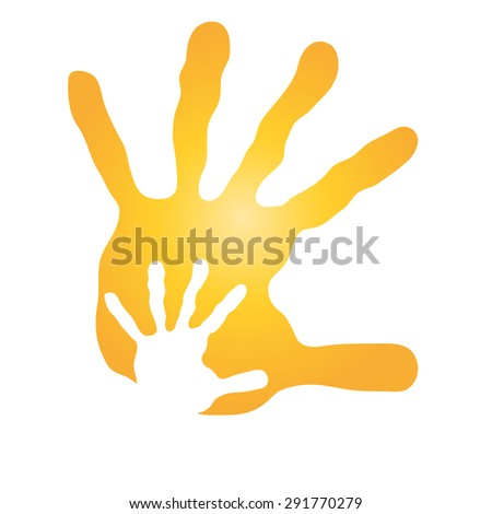 Concept or conceptual human or mother and child hand prints painted, isolated on white background for art, care, childhood, family, fun, happy, infant, symbol, kid, little, love, mom, motherhood young - stock photo