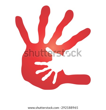 Concept or conceptual human or mother and child hand prints painted, isolated on white background for art, care, childhood, family, fun, happy, infant, symbol, kid, little, love, mom, motherhood young