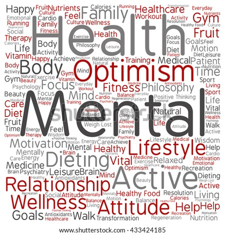 Concept or conceptual mental health or positive thinking square word cloud isolated on background, metaphor to optimism, psychology, mind, healthcare, thinking, attitude, balnce or motivation - stock photo