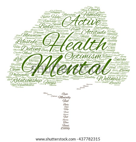 Concept or conceptual mental health or positive thinking tree word cloud isolated on background, metaphor to optimism, psychology, mind, healthcare, thinking, attitude, balance or motivation - stock photo