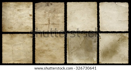 Concept or conceptual old vintage paper background set or collection isolated on black background ideal for antique, grunge, texture, retro, aged, ancient, dirty, frame, manuscript or material designs - stock photo