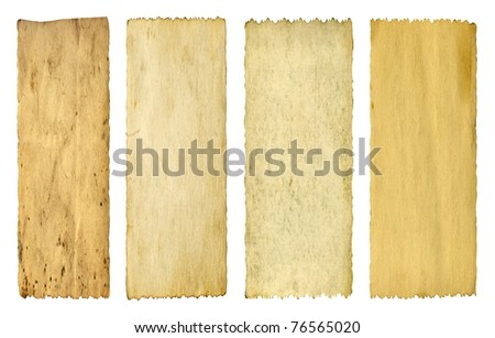 Concept or conceptual old vintage paper backgrounds set or collection isolated on white, ideal for antique, grunge, texture, retro, aged, ancient, dirty, frame, manuscript or material designs