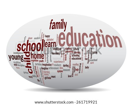 Concept or conceptual oval education abstract word cloud, white background, metaphor to child, family, school, life, learn, knowledge, home, study, teach, educational, achievement, childhood or teen - stock photo