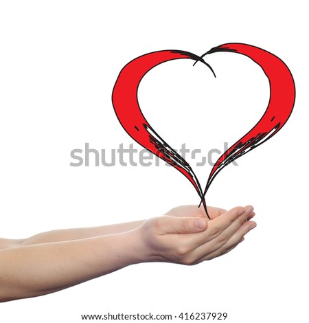Concept or conceptual painted red heart shape love symbol made by happy child at school, held in human man or woman hand isolated on background metaphor to valentine, romantic, education, art feeling