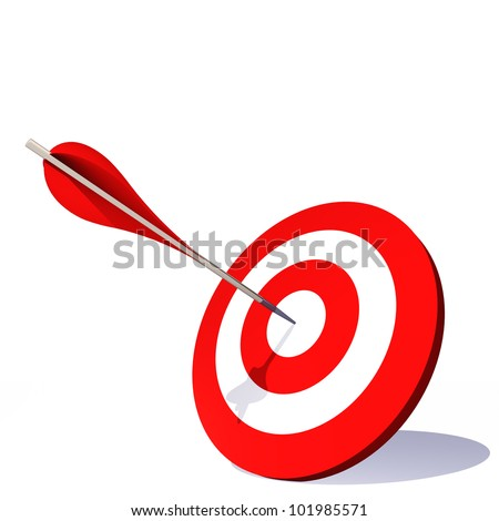 Concept or conceptual red dart target board with an arrow in the center isolated on white background, for success, competition, business, game, achievement, win, perfection, strategy or focus