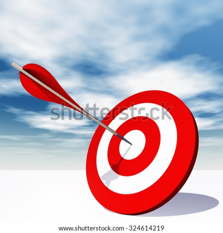 Concept or conceptual red dart target board with arrow in the center on clouds sky background metaphor to success, competition, business, game, achievement, win, perfection, strategy, best or focus