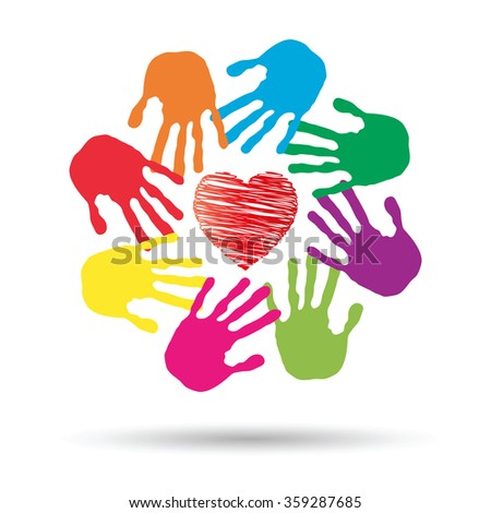 Concept or conceptual red heart symbol with child human hand prints spiral circle isolated on white background, metaphor to love, care, friendship, happy, family, protection, romantic or safety