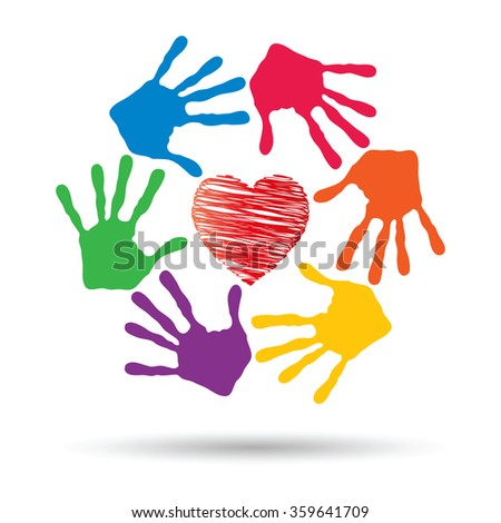 Concept or conceptual red heart symbol with child human hand prints spiral or circle isolated on white background metaphor to love, care, friendship, happy, family, protection, romantic or safety - stock photo