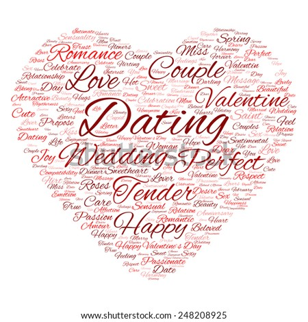 Concept or conceptual red wordcloud text in shape of heart symbol isolated on white background, metaphor to love, romance, passion, romantic, emotion, marriage, valentine, desire or affection - stock photo