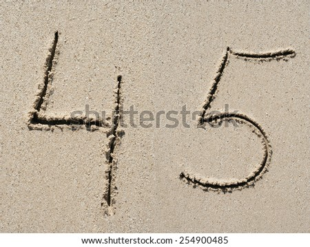Concept or conceptual sand font or number carved on exotic beach near sea isolated on a sandy background, metaphor to nature, natural, education, character, tropical, tropical, type, message or summer - stock photo