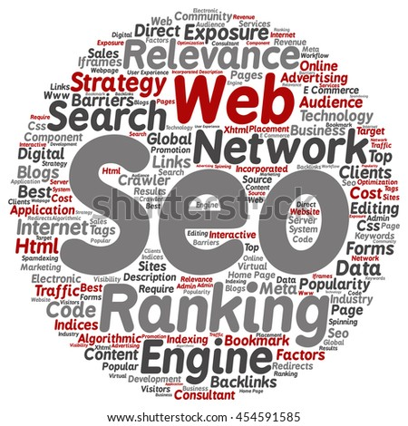 Concept or conceptual search engine optimization, seo abstract round word cloud isolated on background metaphor to marketing, web, internet, strategy, online, rank, result,  network, top, relevance - stock photo