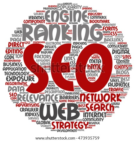 Concept or conceptual search engine optimization, seo abstract round word cloud isolated on background metaphor to marketing, web, internet, strategy, online, rank, result,  network, top, relevance