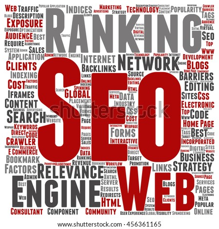 Concept or conceptual search engine optimization, seo abstract square word cloud isolated on background metaphor to marketing, web, internet, strategy, online, rank, result,  network, top, relevance - stock photo