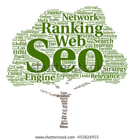 Concept or conceptual search engine optimization, seo abstract tree word cloud isolated on background metaphor to marketing, web, internet, strategy, online, rank, result,  network, top, relevance - stock photo