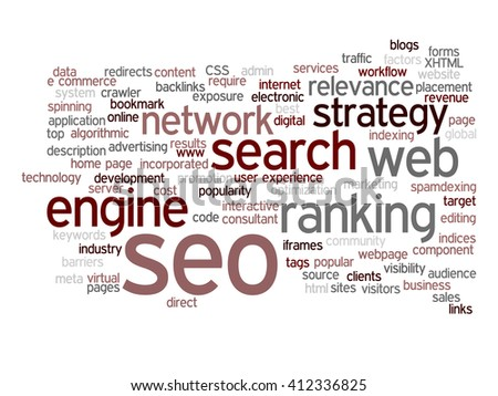 Concept or conceptual search engine optimization, seo abstract word cloud isolated on background, metaphor to marketing, web, internet, strategy, online, rank, result,  network, top, relevance - stock photo