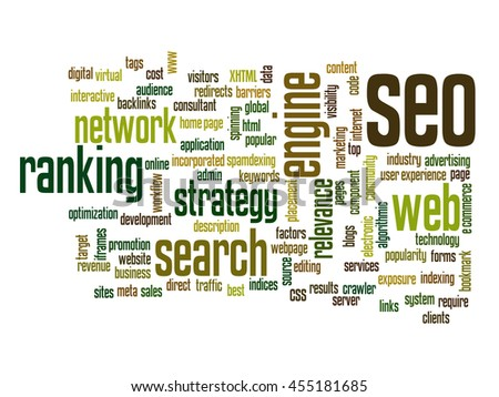Concept or conceptual search engine optimization, seo abstract word cloud isolated on background metaphor to marketing, web, internet, strategy, online, rank, result,  network, top, relevance - stock photo