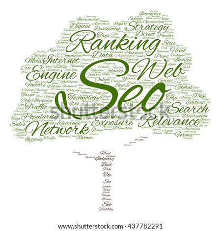 Concept or conceptual search engine optimization, seo tree word cloud isolated on background, metaphor to marketing, web, internet, strategy, online, rank, result,  network, top, relevance - stock photo