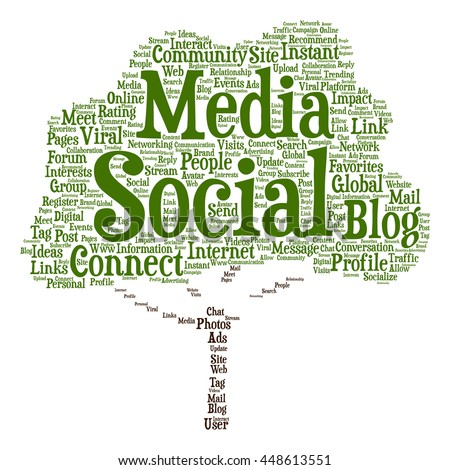 Concept or conceptual social media marketing or communication tree word cloud isolated on background, metaphor to networking, community, technology, advertising, global, worldwide tagcloud - stock photo