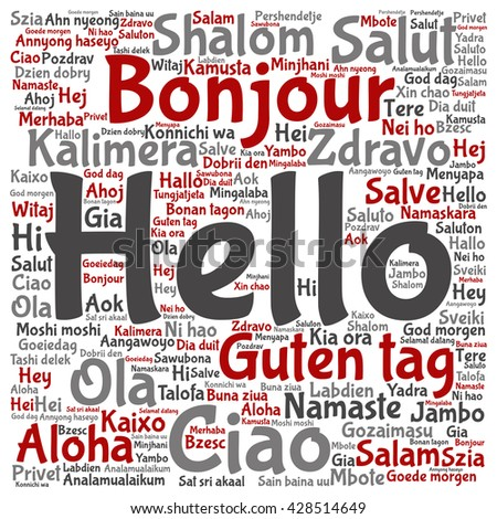 Concept or conceptual square hello or greeting international word cloud in different languages or multilingual, metaphor to world, foreign, worldwide, travel, translate, vacation or tourism