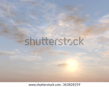 Concept or conceptual sunset or sunrise background with sun close to horizon, metaphor to nature, finish, sadness, romantic, dramatic, light, evening, morning, peace, atmosphere, weather or sunshine - stock photo