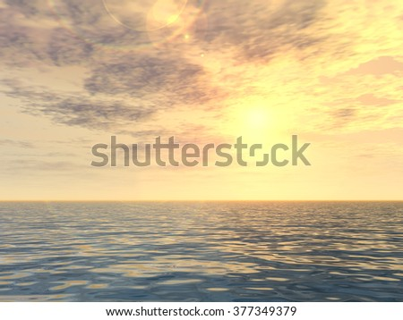 Concept or conceptual sunset or sunrise background with the sun at horizon and sea or ocean, metaphor to nature, romantic, dramatic, light, evening, morning, peace, atmosphere, weather or sunshine - stock photo