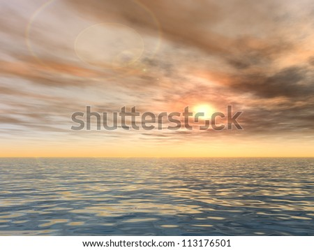 Concept or conceptual sunset or sunrise background with the sun close to horizon and sea or ocean as a metaphor for nature,romantic,dramatic,light,evening ,morning,peace,atmosphere,weather or sunshine - stock photo