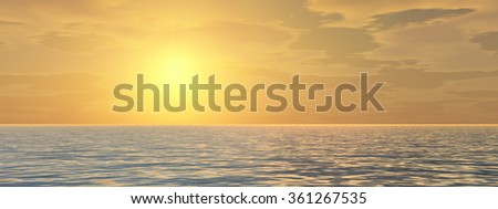 Concept or conceptual sunset or sunrise background with the sun close to horizon and sea or ocean as a metaphor for nature, romantic, dramatic, light, evening, morning, peace, atmosphere or weather