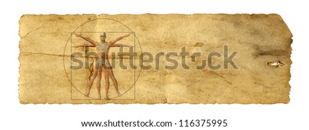 Concept or conceptual vitruvian human body drawing on old paper or book background as metaphor to anatomy,biology,Leonardo,classic,anatomical,circle,symbol ,revival,proportion , skeleton or manuscript - stock photo