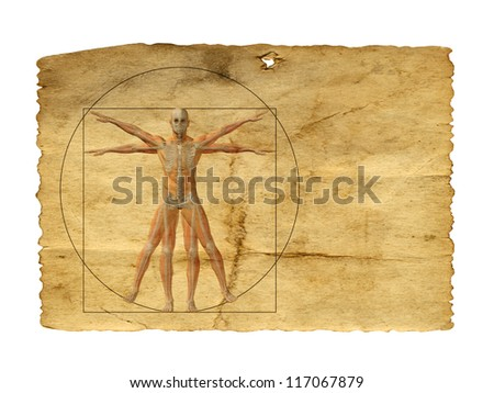 Concept or conceptual vitruvian human body drawing on old paper or book background as metaphor to anatomy,biology,Leonardo,classic,anatomical,circle,symbol ,revival,proportion,skeleton or manuscript - stock photo