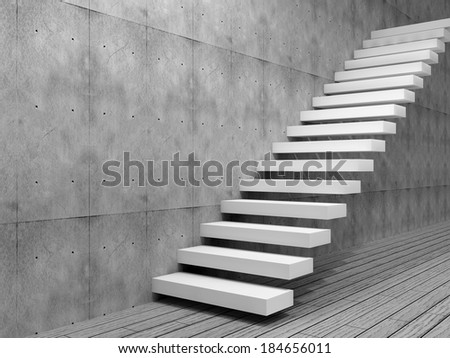 Concept Or Conceptual White Stone Or Concrete Stair Or Steps Near A Wall  Background With Wood