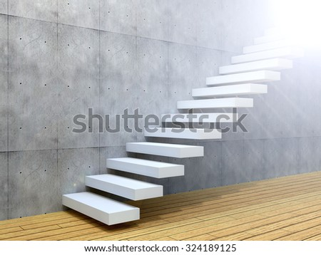 Concept or conceptual white stone or concrete stair or steps near a wall background with wood floor metaphor to architecture, success, climb, business, staircase, rise, achievement, growth or future