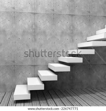 Concept or conceptual white stone or concrete stair or steps near brick wall background with stone, metaphor to architecture, success, climb, business, staircase, rise, achievement, growth or future