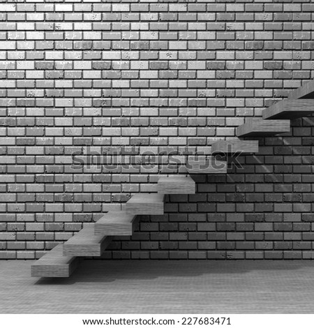 Concept or conceptual white stone or concrete stair or steps near brick wall background with stone, metaphor to architecture, success, climb, business, staircase, rise, achievement, growth or future - stock photo