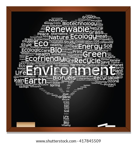 Concept or conceptual white text on blackboard word cloud tree isolated on black background, metaphor to nature, ecology, energy, natural, life, world, global, protect, environmental or biofuel - stock photo