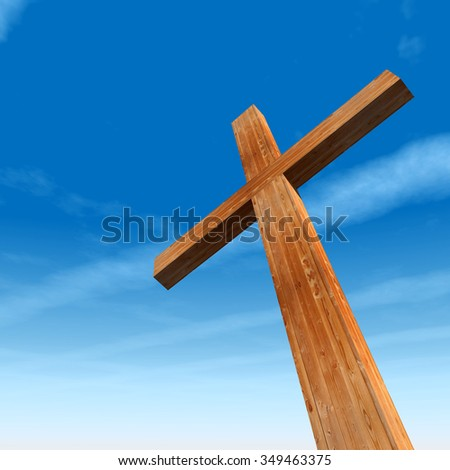 Concept or conceptual wood cross or religion symbol shape over a blue sky with clouds background, metaphor to God, Christ, Christianity, religious, faith, holy, spiritual, Jesus, belief or resurection - stock photo