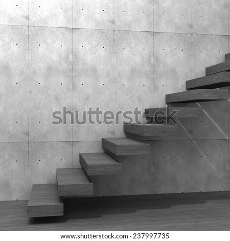 Concept or conceptual wood or woode stair or steps near a wall background with wood floor, metaphor to architecture, success, climb, business, staircase, rise, achievement, growth or future - stock photo
