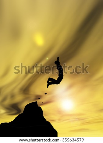Concept or conceptual young 3D man or businessman silhouette jump happy from cliff over  gap sunset or sunrise sky background  as metaphor to freedom, nature, mountain, success, free, joy, health risk