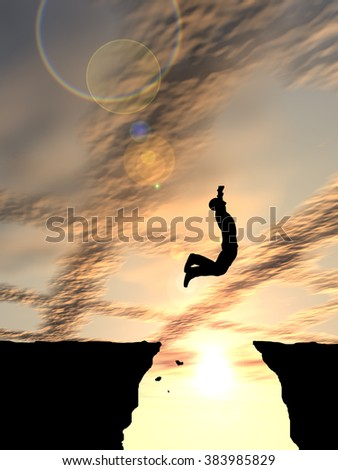 Concept or conceptual young 3D man or businessman silhouette jump happy from cliff over  gap sunset or sunrise sky background metaphor to freedom, nature, mountain, success, free, joy, health risk