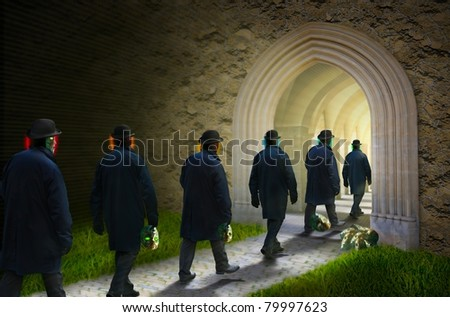 Concept - people leaving in the Light shed their masks - stock photo
