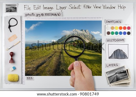 Concept photo of photo editing software workspace - stock photo