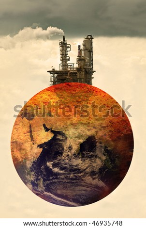 concept photo of pollution on earth, Earth map by courtesy of visibleearth.nasa.gov - stock photo