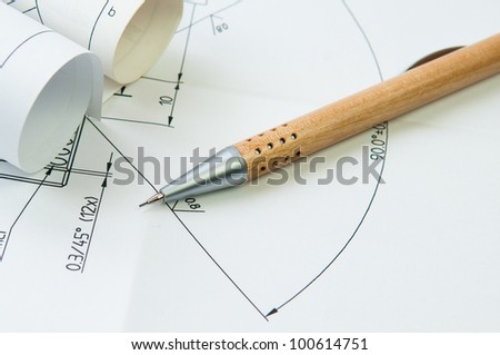 concept photo of technical drawing with pencil - stock photo