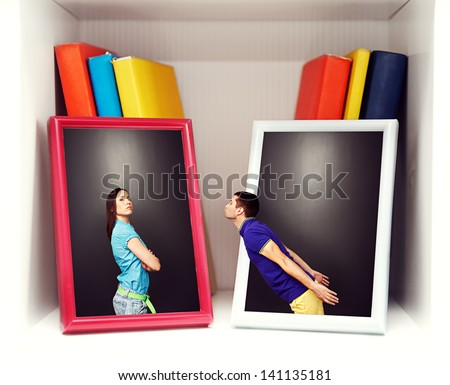 concept photo of young couple at quarrel - stock photo