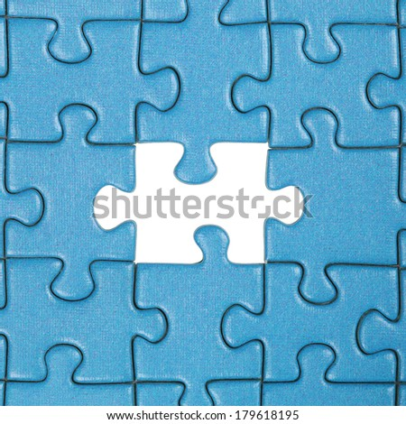 Concept picture gap in a puzzle topic problem and solution - stock photo