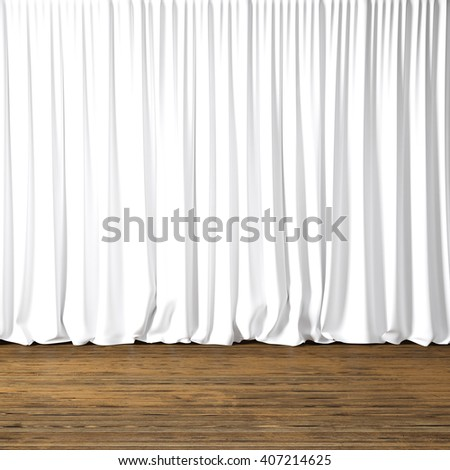 Concept picture highly detailed white Curtains. Photo of backstage with textile curtains and wood floor. Abstract interior background. Square mockup. 3d rendering - stock photo