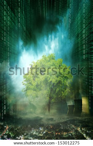 Concept picture of single green tree standing in an unhealthy and dark environment. The environment does look like a future city with dark clouds, smog and polluted air - stock photo