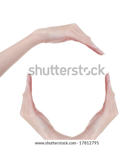 concept picture of three hands on the white background