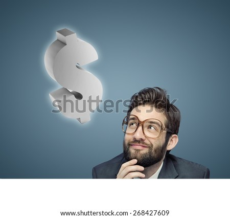 Concept portrait of a nerdy businessman - stock photo